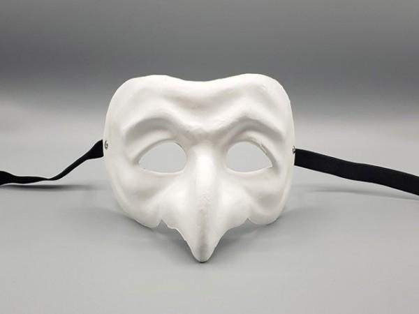Masque de Polichinelle blanc en papier mâché