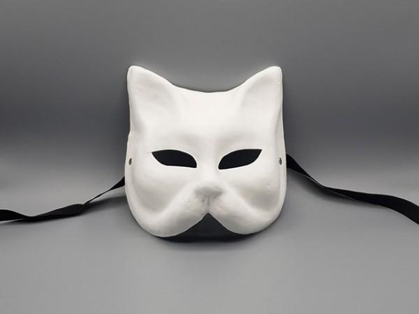 Masque de chat blanc en papier mâché