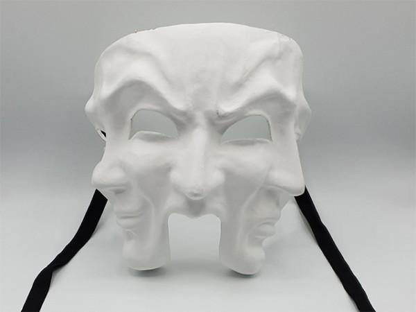 Masque de théâtre à trois visage, blanc