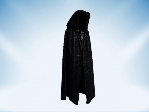 Cape avec capuchon en dentelle noire et doublure noire