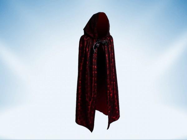 Cape avec capuchon en dentelle noire et doublure rouge