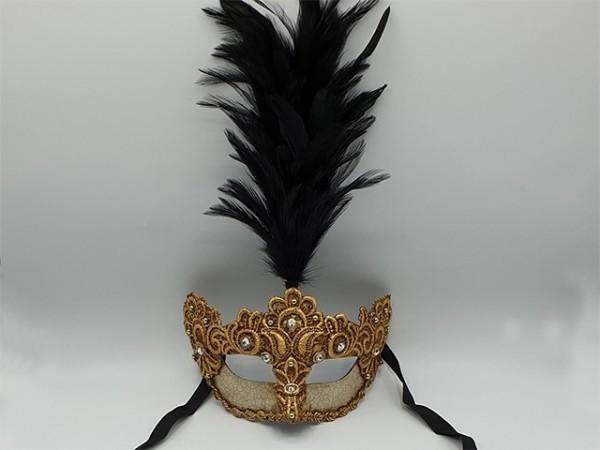 Masque doré à plumet noir