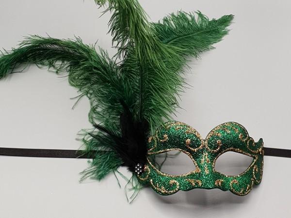 Masque de bal à plumet vert