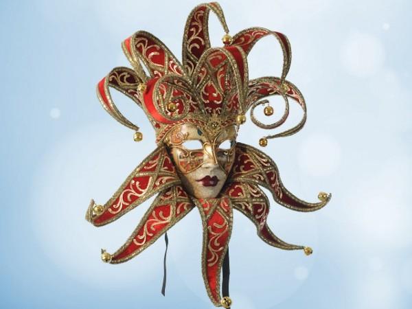 Masque vénitien Jester en rouge