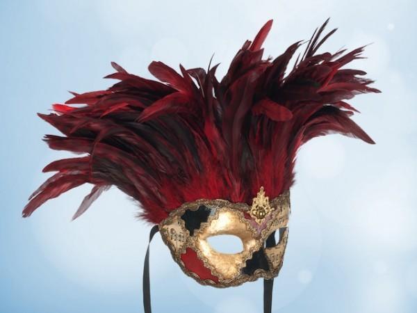 Masque vénitien à plumes rouges