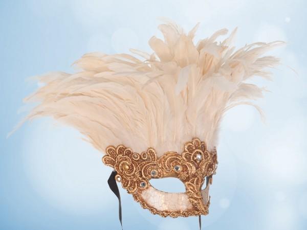 Masque doré à plumes blanches