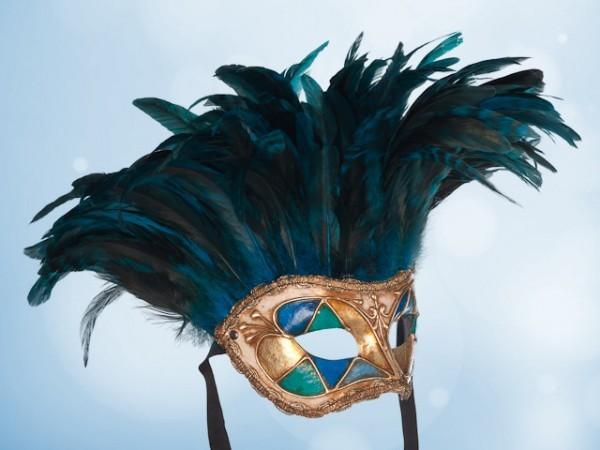 Masque vénitien à plumes bleues