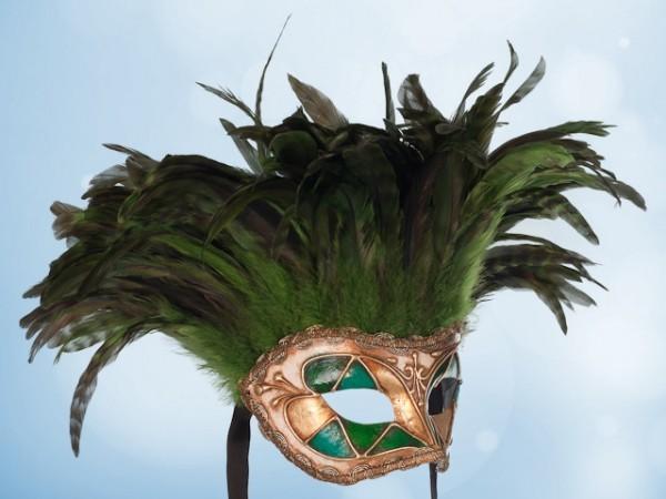 Masque vénitien à plumes vertes
