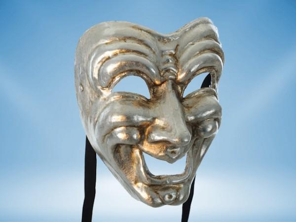 Masque de comédie en argent