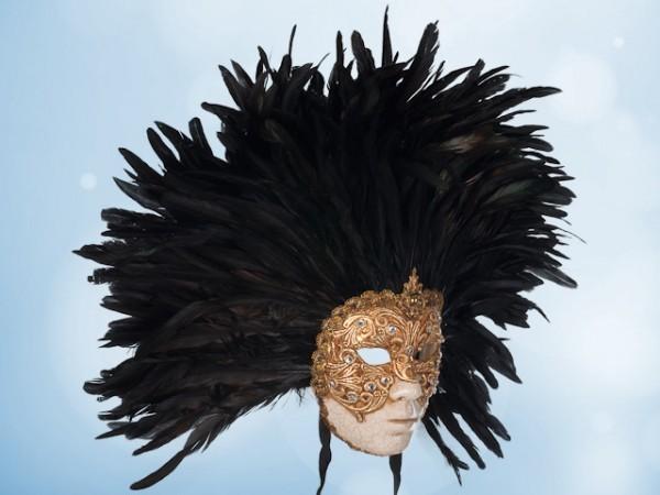 Masque visage doré à plumes