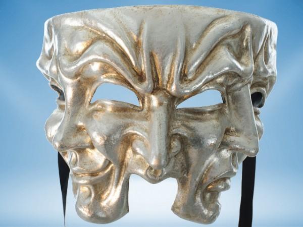 Masque à trois visages en argent