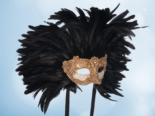 Masque de bal doré à plumes noires pour hommes