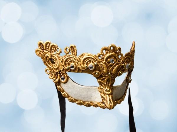 Masque de bal vénitien en dentelle dorée pour femme