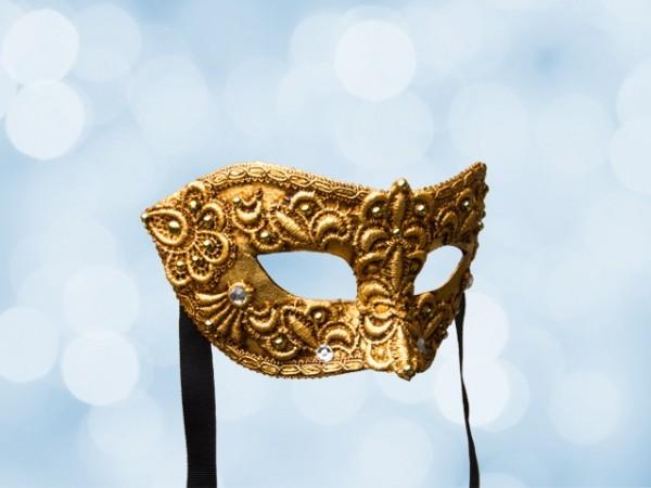 Masque de bal vénitien en dentelle dorée pour homme