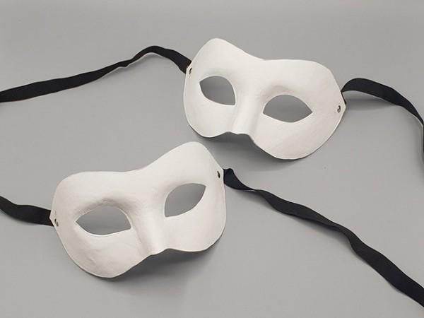Masque Visage la Moitié blanc et papier mâché, 2 pièces