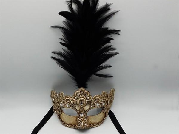 Masque argenté à plumet noir
